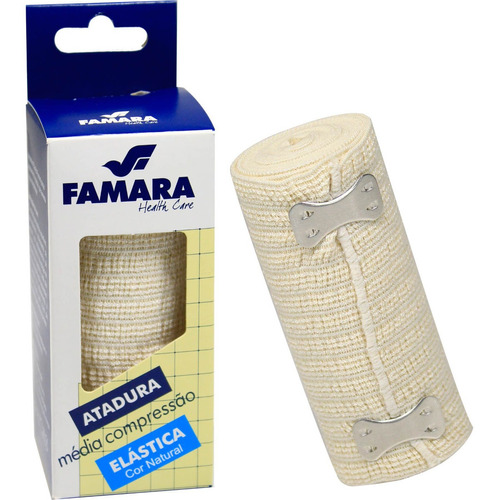 kit c/ 3 bandagem / atadura elastica média compressão famara cor natural 10cm x 1,30m c/ presilhas