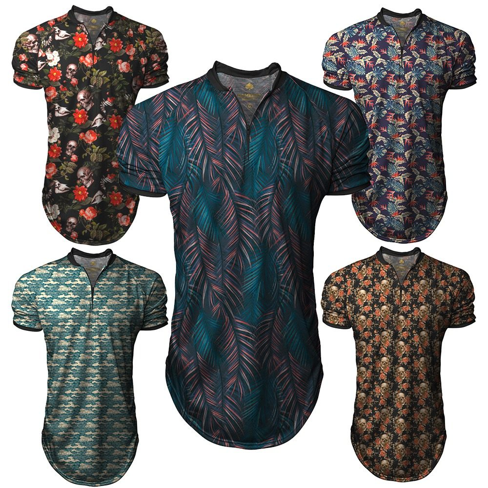 kit c  3 camiseta camisa longline gola polo esporte floral. Carregando zoom. fb07e8d0fd946