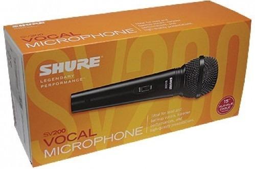 kit c/ 3 microfones shure sv-200 dinamico c/ cabo 5m xlr/xlr