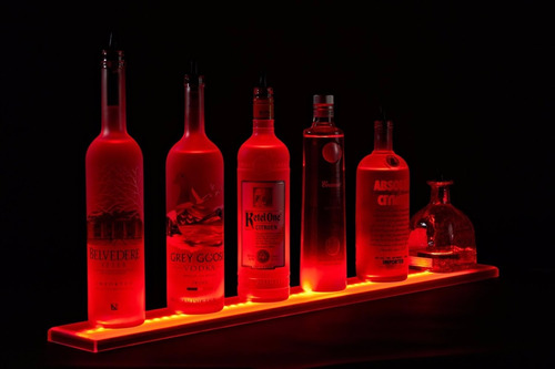 kit c/ 30 base led garrafa adesivo cores festa bar