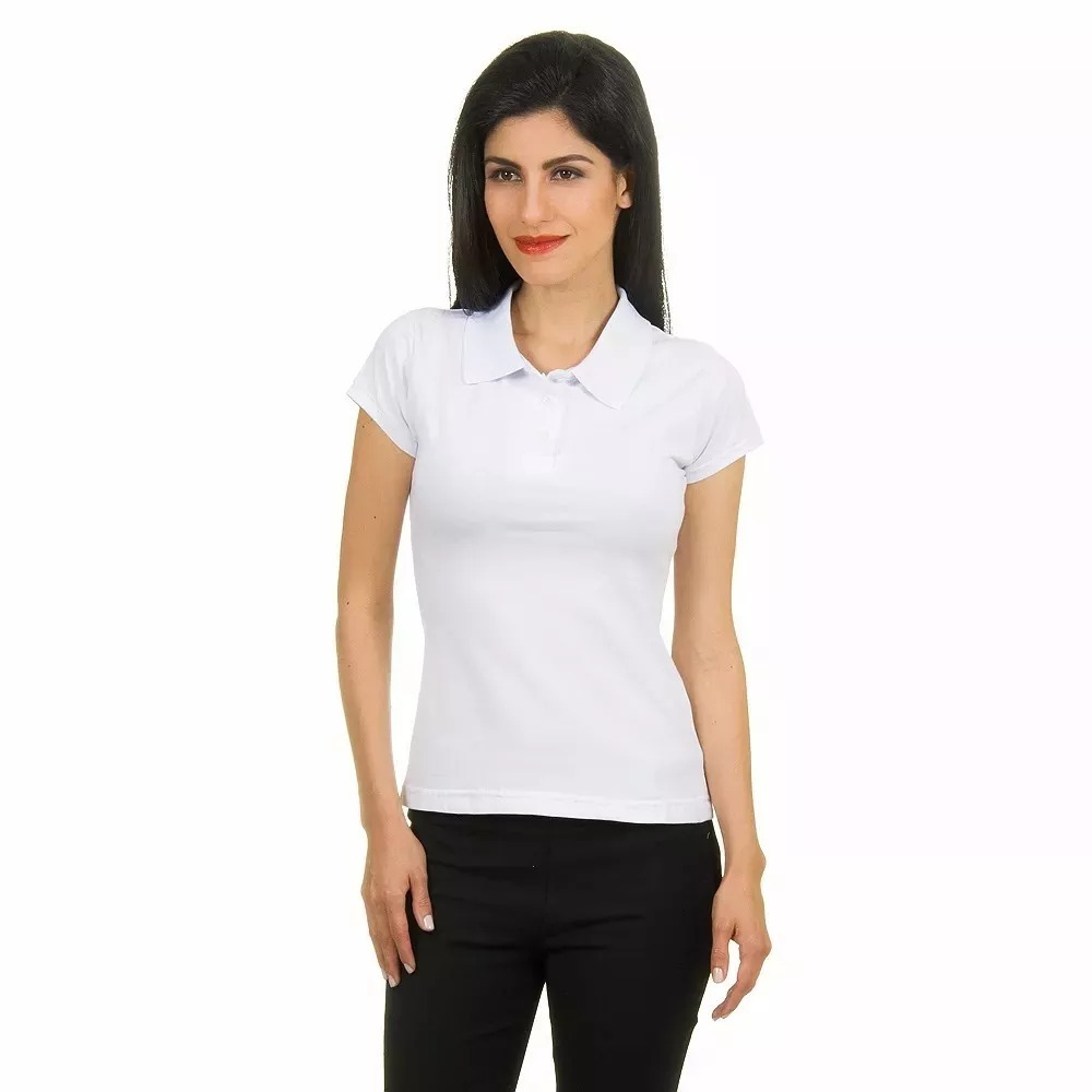 17433e8458483 ... camiseta polo feminina lisa básica. Carregando zoom.