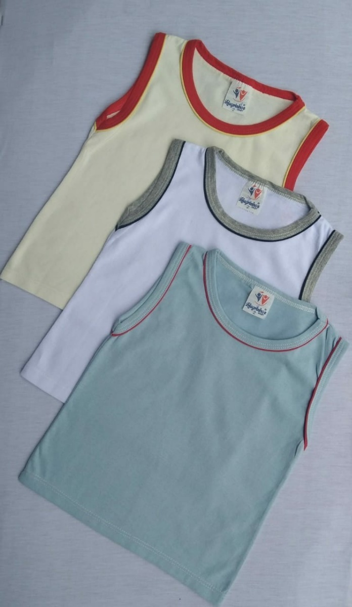57d834459d Kit C  4 Camisetas Regata Com Viés Duplo- Menino P Ao 08 - R  37