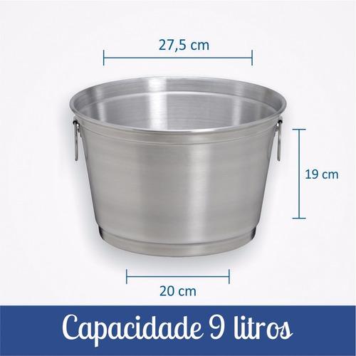 kit c/ 5 baldes de cerveja de 9 litros de alumínio reforçado