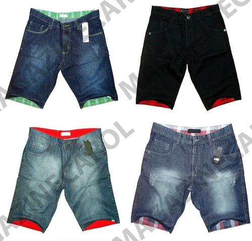 kit c/ 5 bermudas masculinas jeans atacado frete grátis