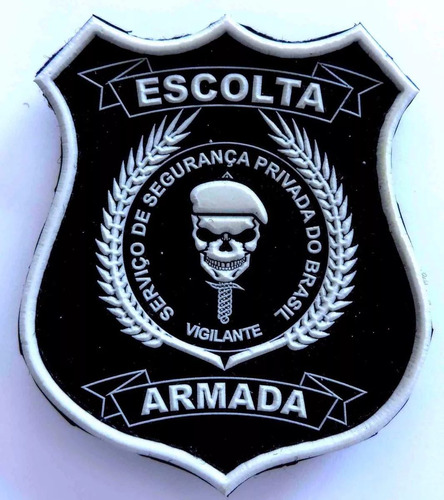 kit c/ 5 brevês  emborrachado escolta armada; vigilante;