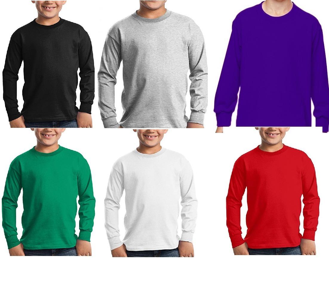 Kit C  5 Camisetas Manga Longa Infantil Básica Blusa Escolar - R  109 9e327a19687c3