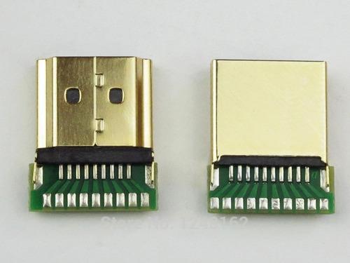 kit c/ 5 conectores hdmi macho gold solda placa reforçado