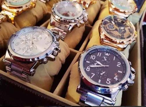 kit c/ 5 relógio masculino luxo  aço atacado  + caixa+bate