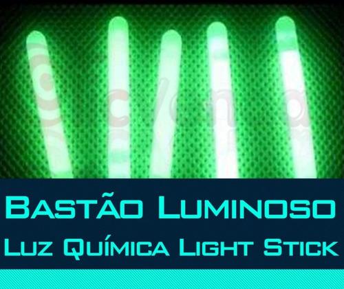 kit c/ 5 unidades bastão luminoso  luz química light stick
