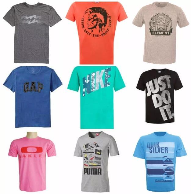 be7f911294790 Kit C  50 Camisetas Masculinas De Marca Famosas Atacado - R  439