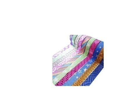 kit c/ 50 fitas adesivas decoradas c/ glitter - washi tape