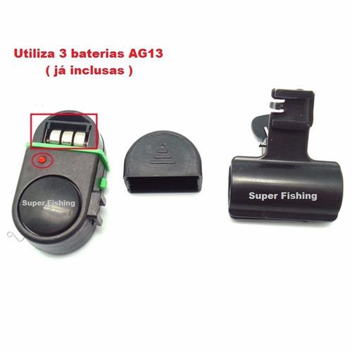 kit c/ 6 alarme sonoro eletrônico c/ led p/ vara de pesca