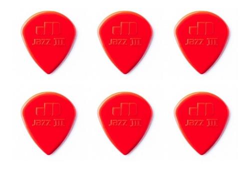kit c/ 6 palheta guitarra jim dunlop nylon jazz iii vermelho