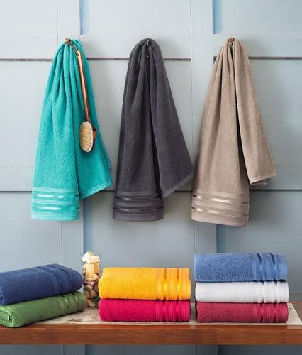kit c/ 6 toalhas de rosto santista prata dante 100% algodão
