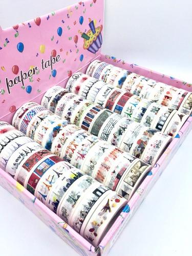 kit c/ 60 fitas adesivas decorativas washitape scrapbook 10m