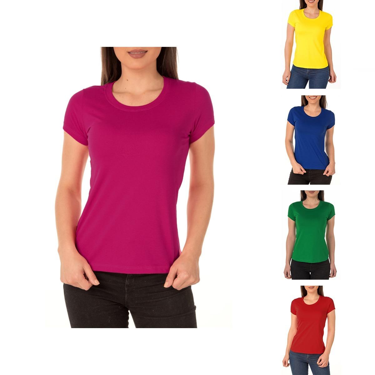 52ae6abace Kit C  7 Camiseta Feminina Baby Look Colorida P  Sublimação - R  118 ...