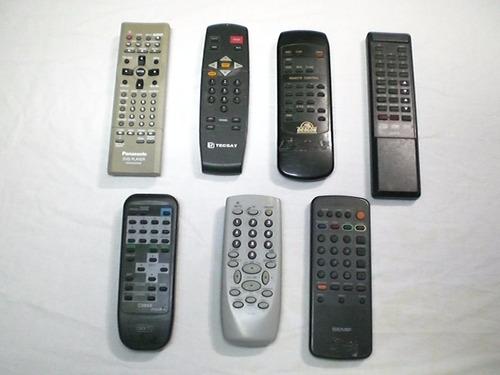 kit c/ 7 controles remoto tv antigas semp panasonic tecnosat