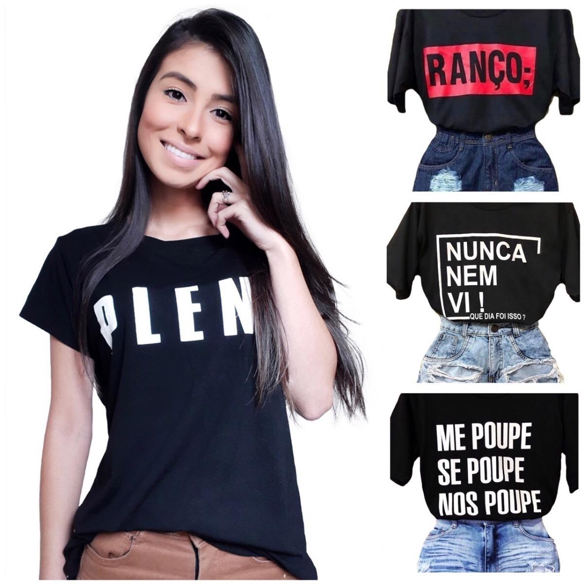 64b6001fc Kit C/ 7 Tshirt Camiseta Feminina Frases Moda Instagram - R$ 120,90 ...