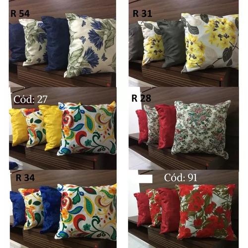 kit c/ 8 almofadas 45x45 decorativas cheias p/ sofá colorida