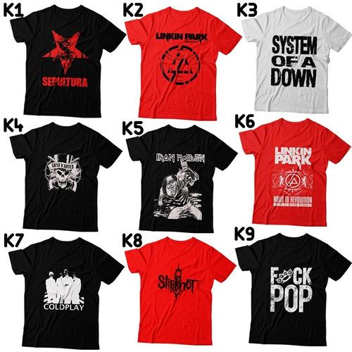 kit c/ 8 camisas rock bandas famosas frete gratis