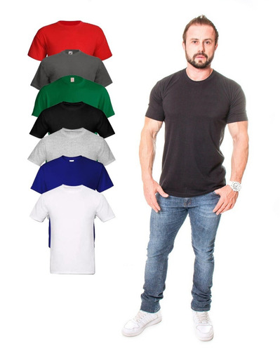 kit c/ 8 camisetas básica lisa várias cores camisa masculina