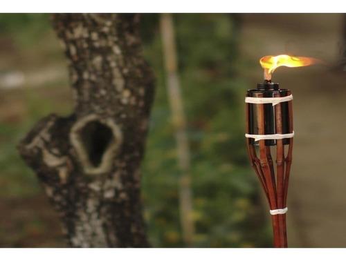 kit c/ 8 tocha bambu 120cm lamparina decoração festa jardim