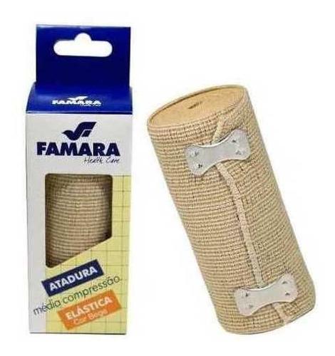 kit c/ 9 bandagem / atadura elastica média compressão famara cor bege 10cm x 1,30m c/ presilhas