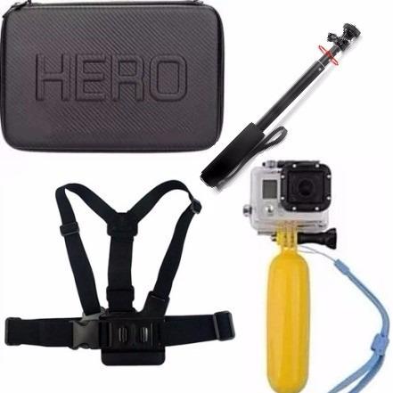 kit c/ case gopro grande flutuador pau de selfie cinta peito