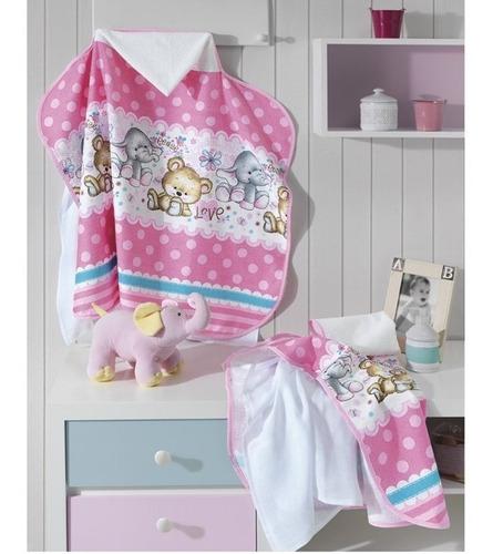 kit c/ fralda de pano toalha de banho menina - dohler