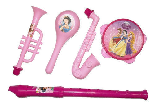 kit c/ instrumentos musicais infantil 6 pçs princesas disney