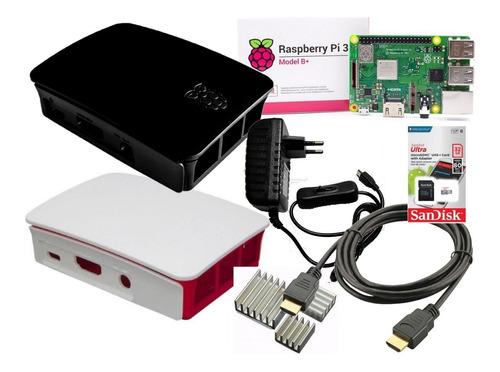 kit c/ raspberry pi3 b+ plus, case oficial, fonte, hdmi 32gb