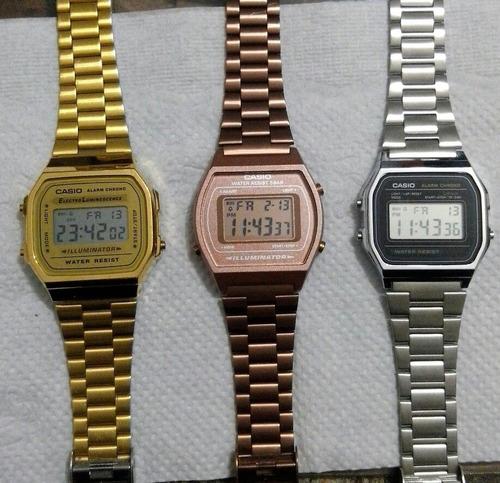 kit c/05 relógios casio vintage dourado prata