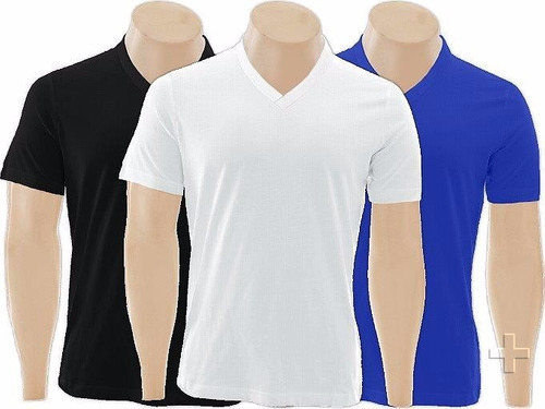 kit c/10 camisetas gola v rasa lisa básica camisa blusa