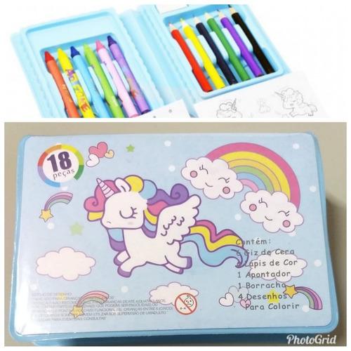 kit c/10 lembrancias unicornio estojos de pintura