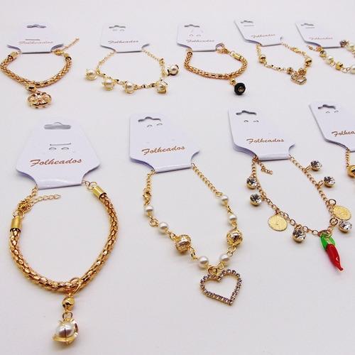 kit c/10 pulseira folheada a ouro 17k oferta atacado barato