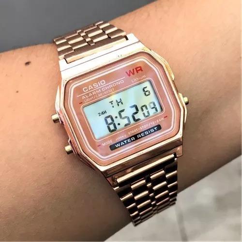 kit c/10 relógios casio vintage frete gratis prata, rose, dourado