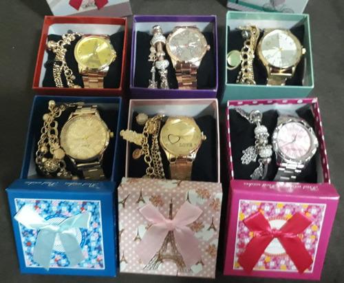 kit c/10 relógios feminino+caixas vermelha+pulseiras atacado