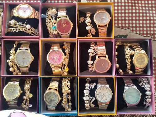 kit c/10 relógios feminino+pulseira+caixas luxo atacado