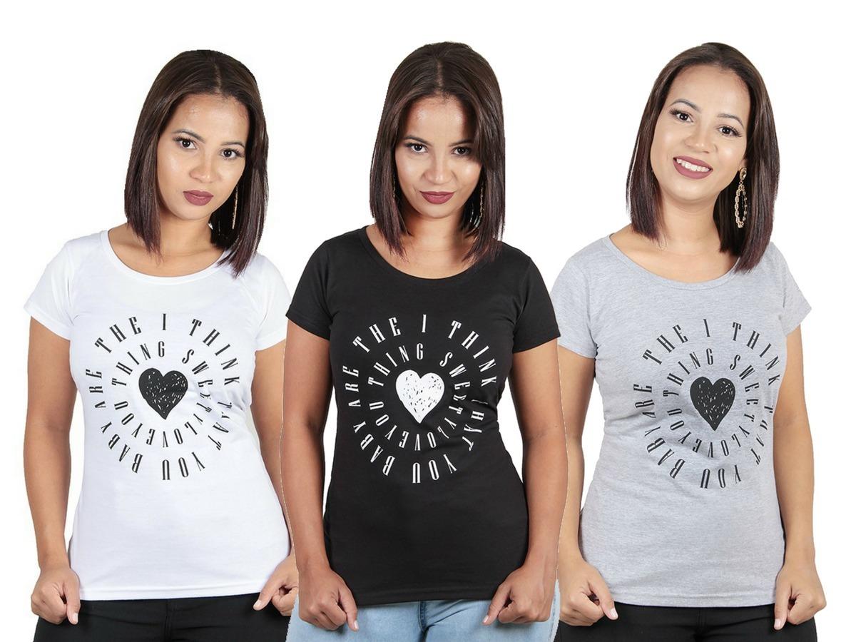 Kit C 10 Roupas Blusas Camisas Feminina Estampada Baratas - R  160 ... 794379303f7