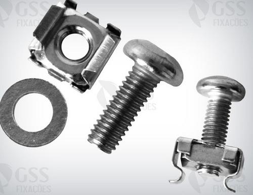 kit c/100 peças porca gaiola + parafuso m5 p/fixação rack