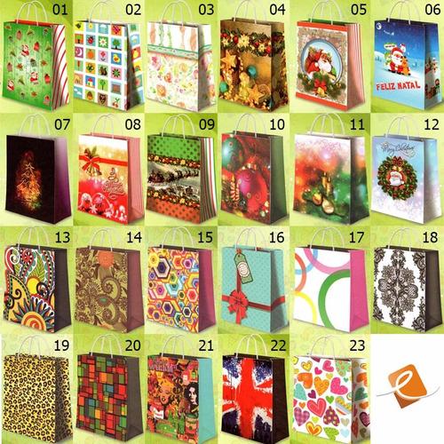 kit c/150 sacolas de papel p/ presente 285 x 220 x 95 natal