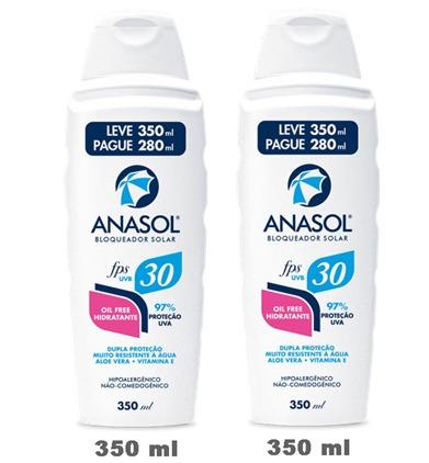 kit c/2 anasol protetor solar fps30 350ml- frasco gigante