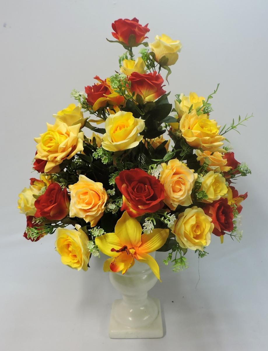 Kit C2 Arranjos Rosas Amarela Vermelha Artificial Festa R 48000