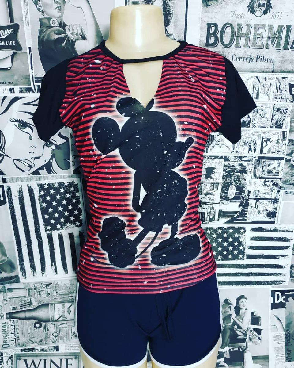 Kit C 2 Camiseta Blusa Camisa Feminina Estampada T-shirts - R  46 808a0034b48
