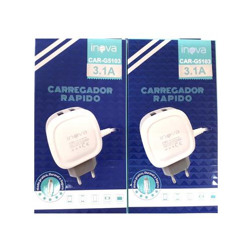 kit c/2 carregador parede turbo 3a g5103 celular lg g3 g4 g5