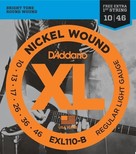 kit c/2 encord d´addario exl110-b regular light gauge .010