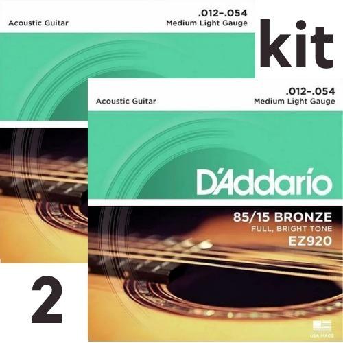 kit c/2 encord. violão bronze - d´adario ez920 - 012