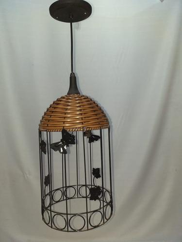 kit c/2 lustre luminária gaiola junco decoração (40x20)
