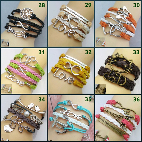 kit c/2 pulseira feminina bracelete de couro, metal, pingent
