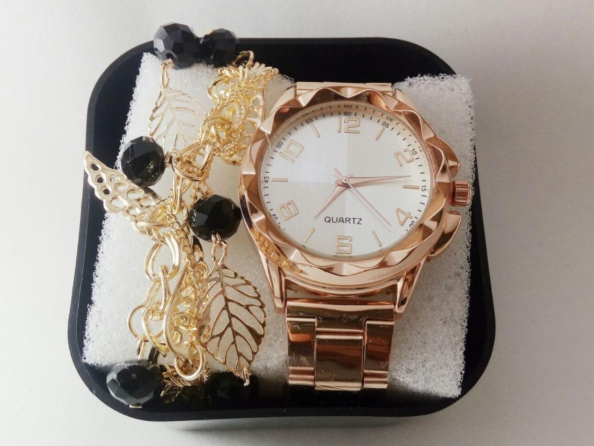 356357d2d Kit C 2 Relógios Femininos + Pulseira Na Caixa De Acrílico - R  56 ...